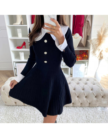 Button Detailed Dress in Black