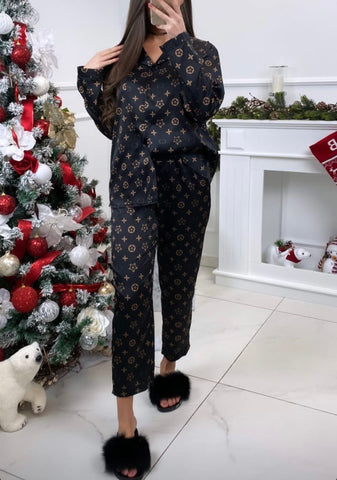 LV Inspired Pyjama Set in Black
