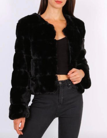 4 Panel Faux Fur Jacket Black