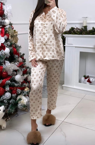 LV Inspired Pyjama Set in Cream