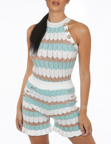 Zig Zag Short Set in Mint
