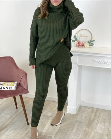 Chunky Ribbed Roll Neck Lounge Set in Khaki