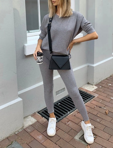 Ribbed Loungewear Set in Grey