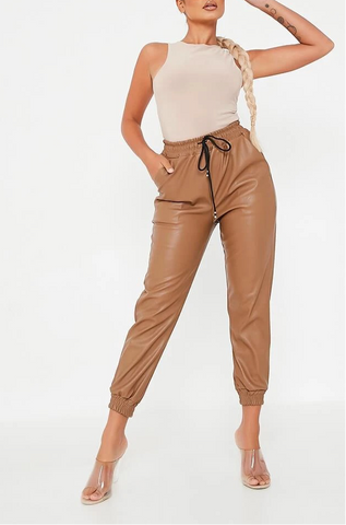 Faux Leather Trousers in Brown