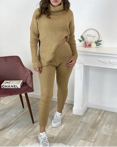 Chunky Ribbed Roll Neck Lounge Set in Camel