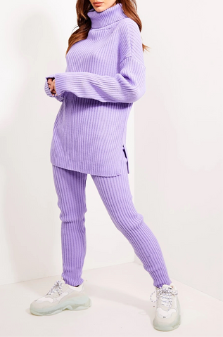 Chunky Ribbed Roll Neck Lounge Set in Lilac
