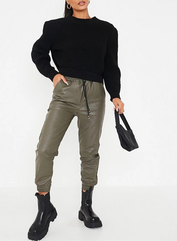 Faux Leather Trousers in Khaki