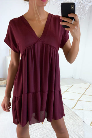 V Neck Smock Dress in Wine