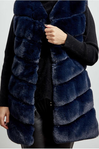 Layered Faux Fur Gilet in Navy