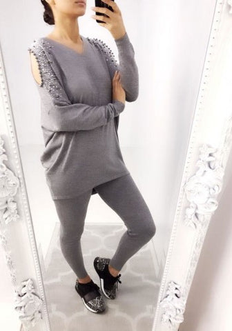 Diamante Encrusted Cold Shoulder Lounge Set in Grey