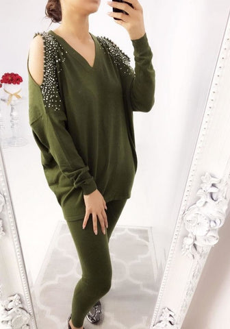 Diamante Encrusted Cold Shoulder Lounge Set in Khaki