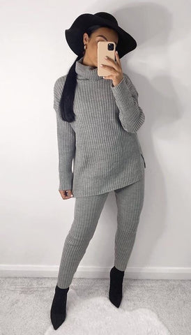 Chunky Ribbed Roll Neck Lounge Set in Light Grey