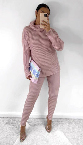 Chunky Ribbed Roll Neck Lounge Set in Pink