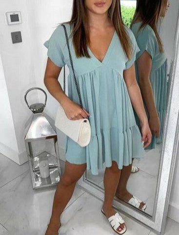 V Neck Smock Dress in Mint