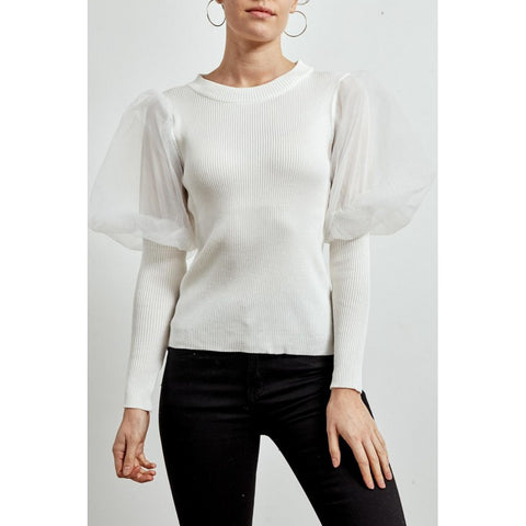 Organza Sleeve Ribbed Top in White