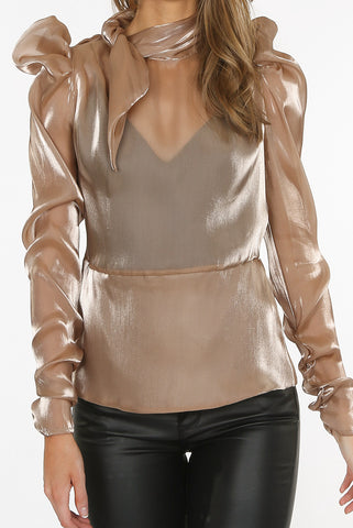 Satin Knot Blouse in Beige