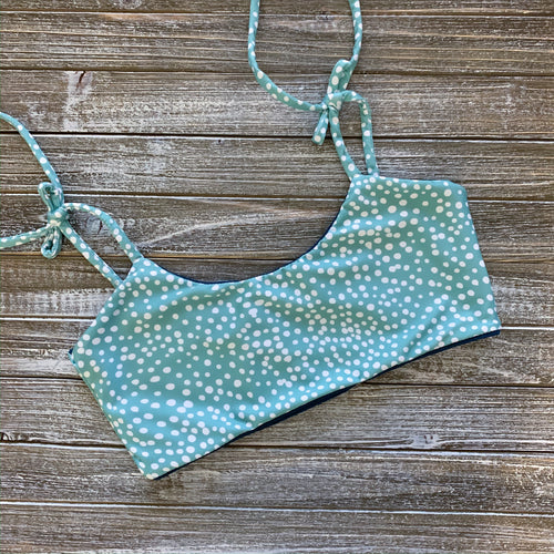 Lainey Top | (Reversible) Seafoam Spots + Navy