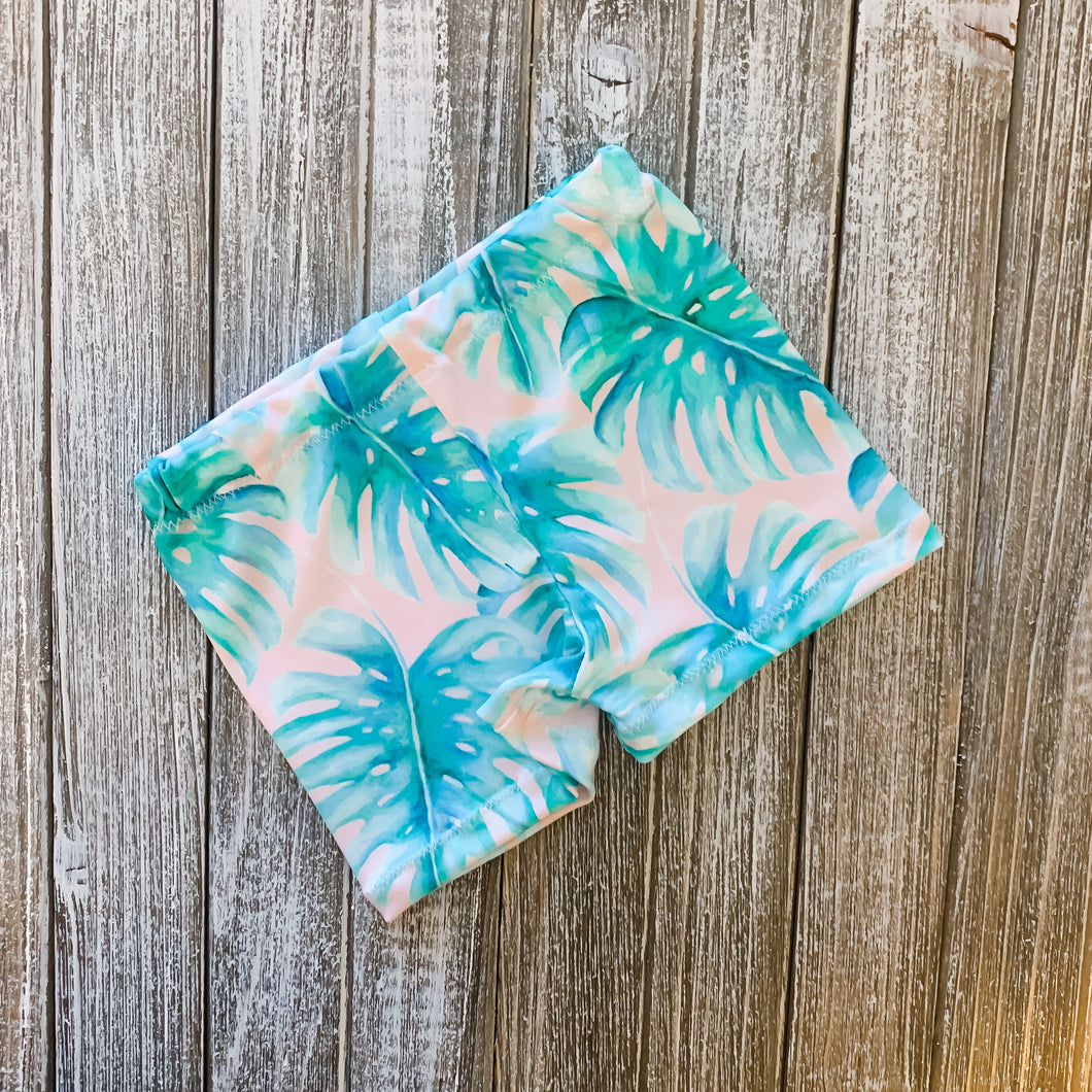 Baby Soft Swim Shorties | Pink Palm