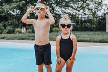 Load image into Gallery viewer, Child Soft Swim Shorties | Blue Watercolor