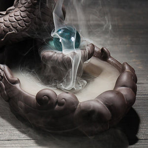 Dragon Incense Holder Censer With Crystal Ball