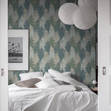 Fern Forest Blue Green and Beige - 1162