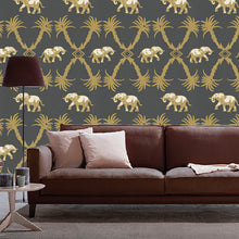 Elephant Palm Design Dark Grey - BG2100201