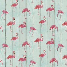 Flamingo on Wood Design Aqua Blue