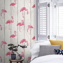 Flamingo on Wood Design White