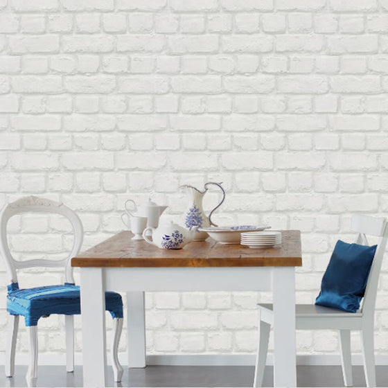 Metallic Brick Design White