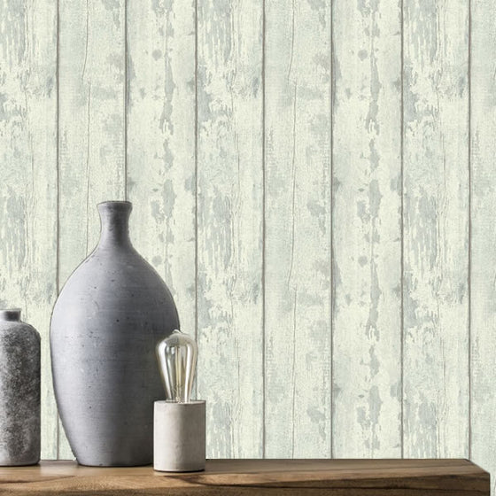 Washed Wood Design Cream & Teal