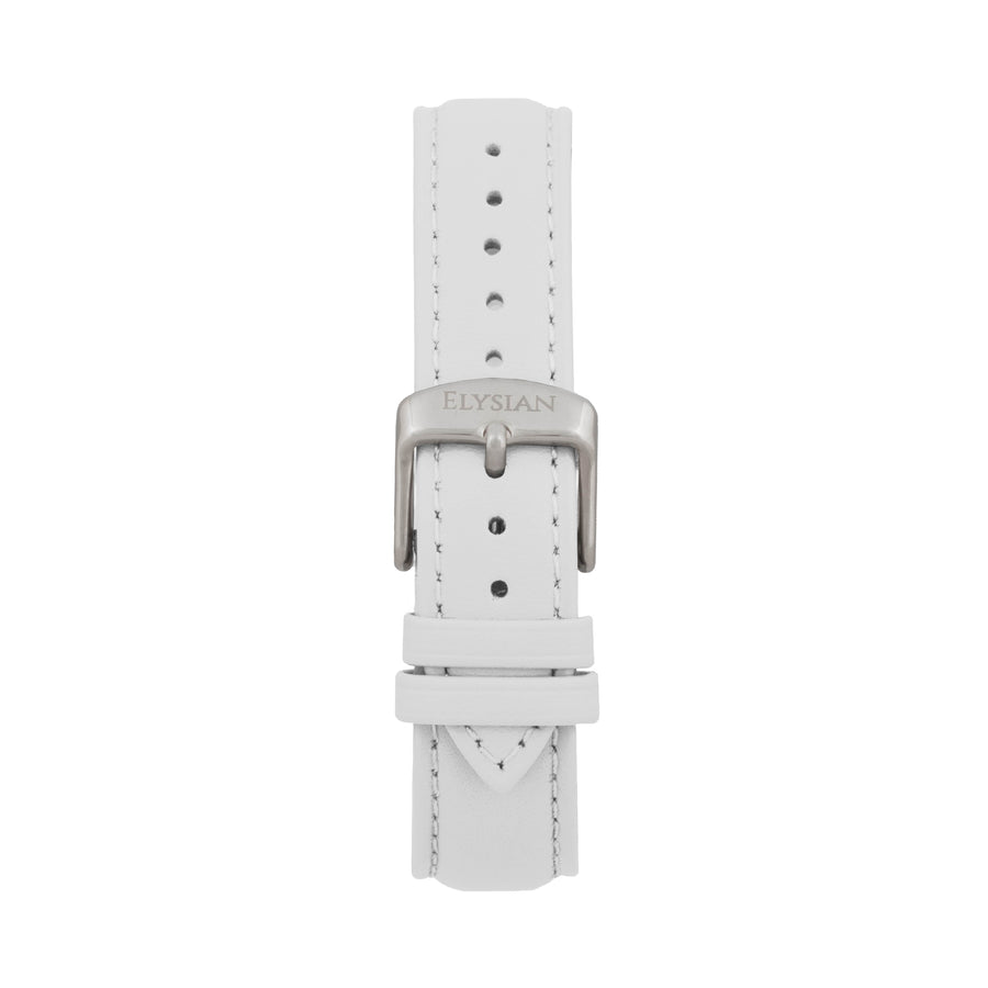 White Leather Strap - Silver