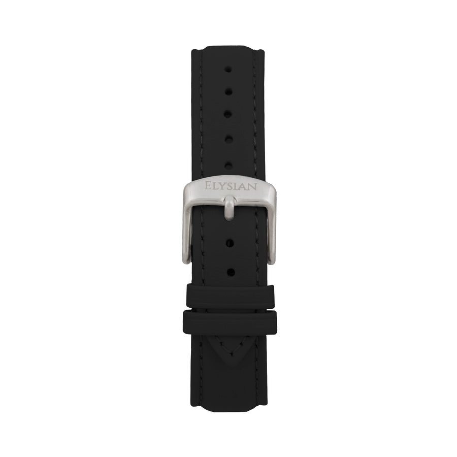 Black Leather Strap - Silver