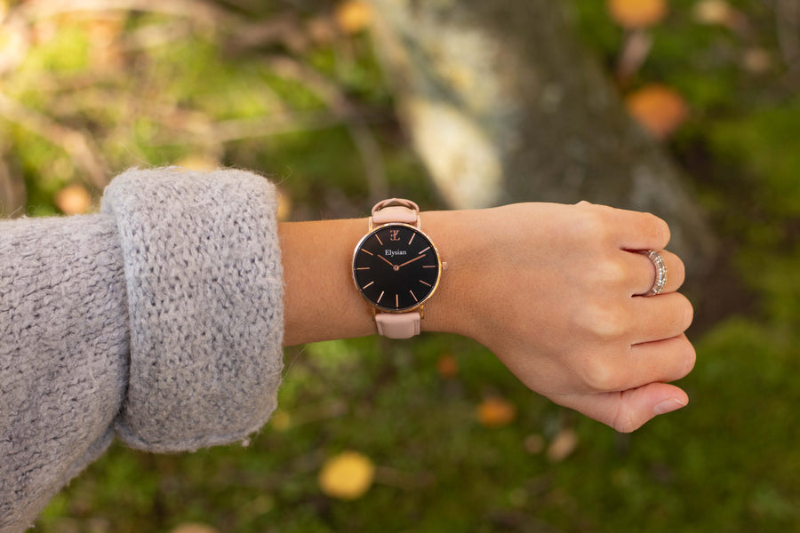 elysianwatches Rose Gold Black - Rose Leather