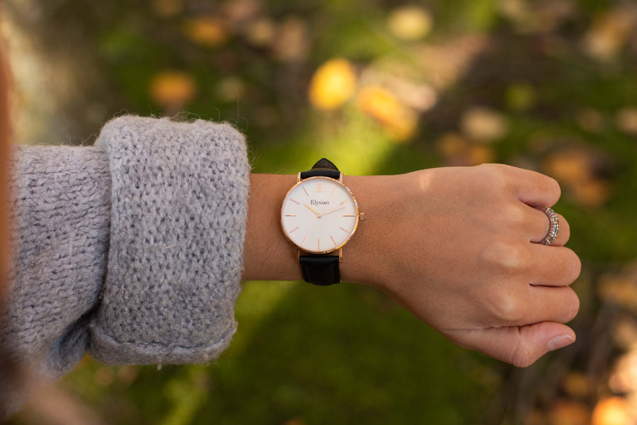 elysianwatches Rose Gold White - Black Leather