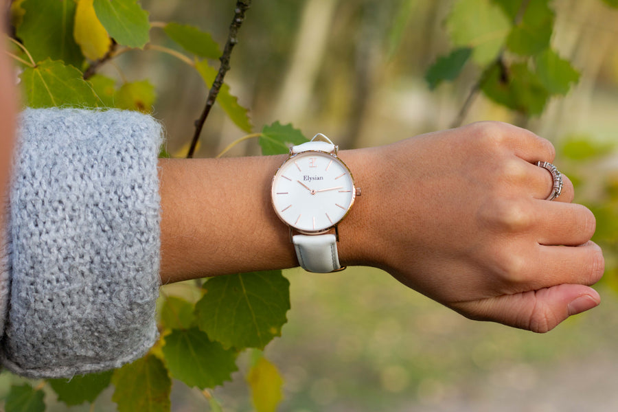 elysianwatches Rose Gold White - White Leather