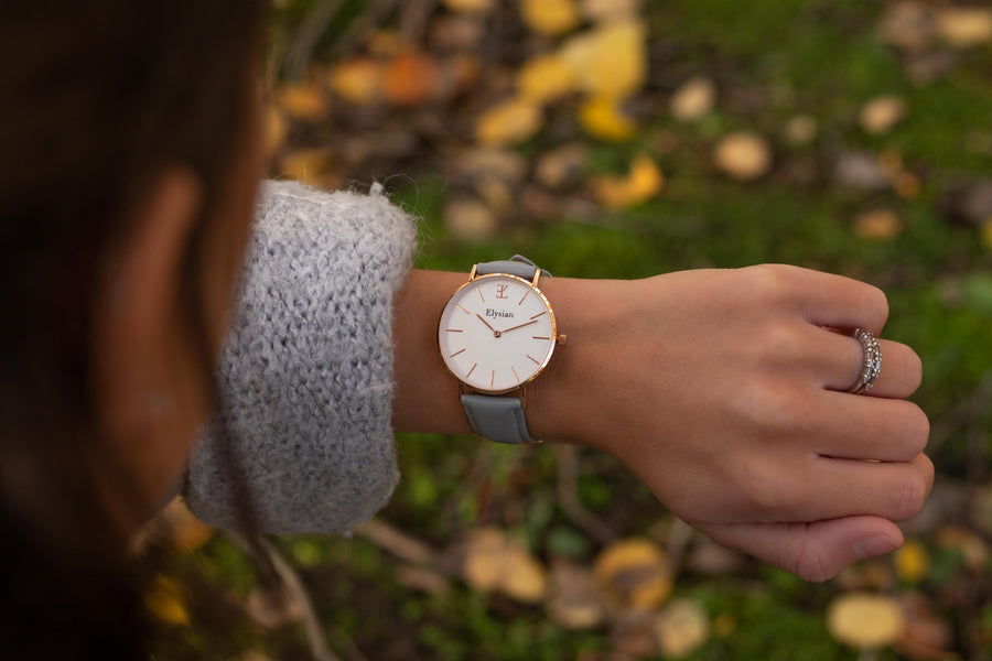 elysianwatches Rose Gold White - Gray Leather