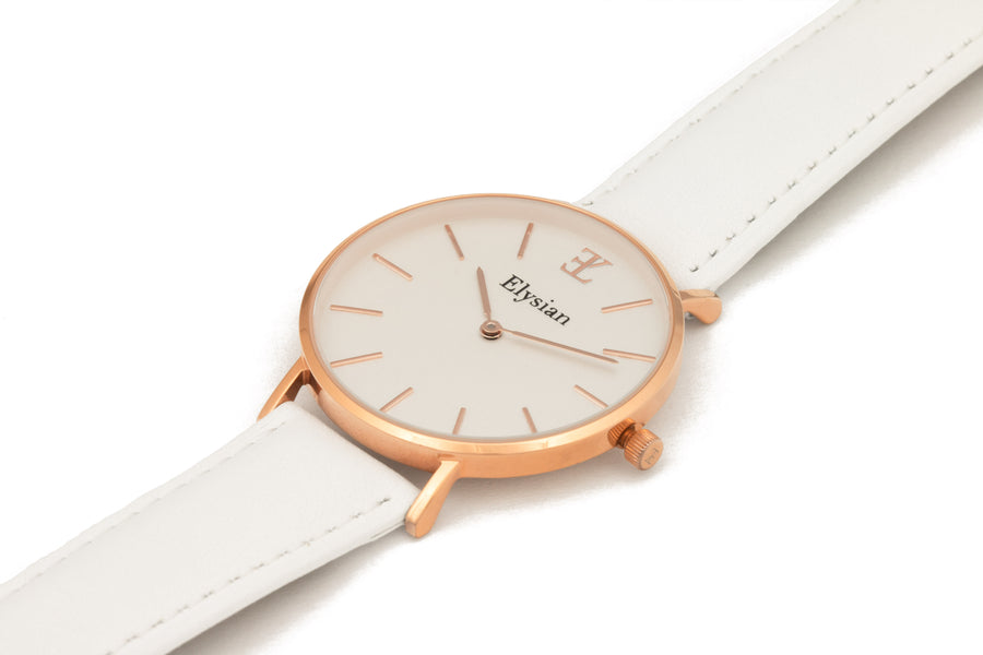 Rose Gold White - White Leather