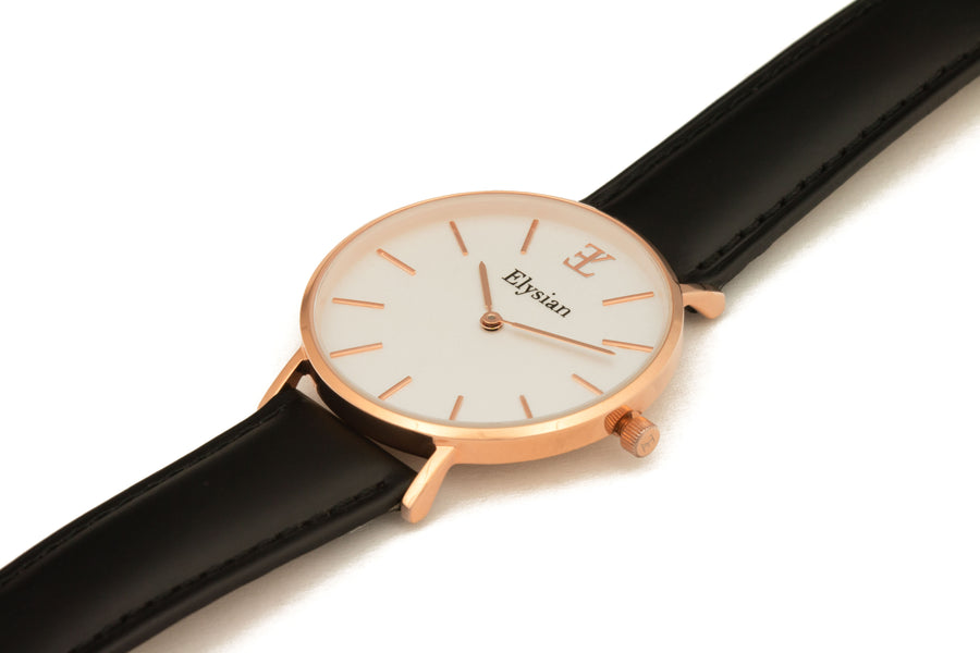 Rose Gold White - Black Leather