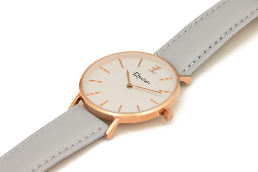 Rose Gold White - Gray Leather