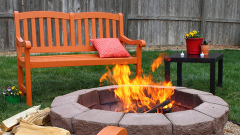 Outdoor Seating Design Inspiration: Rustic Bench by the Fire