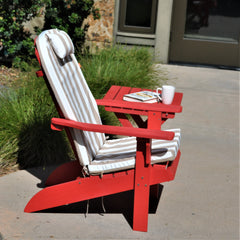 Red Adirondack Chair with seat cushion