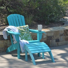 Aqua PolyTEAK Adirondack chair with matching ottoman