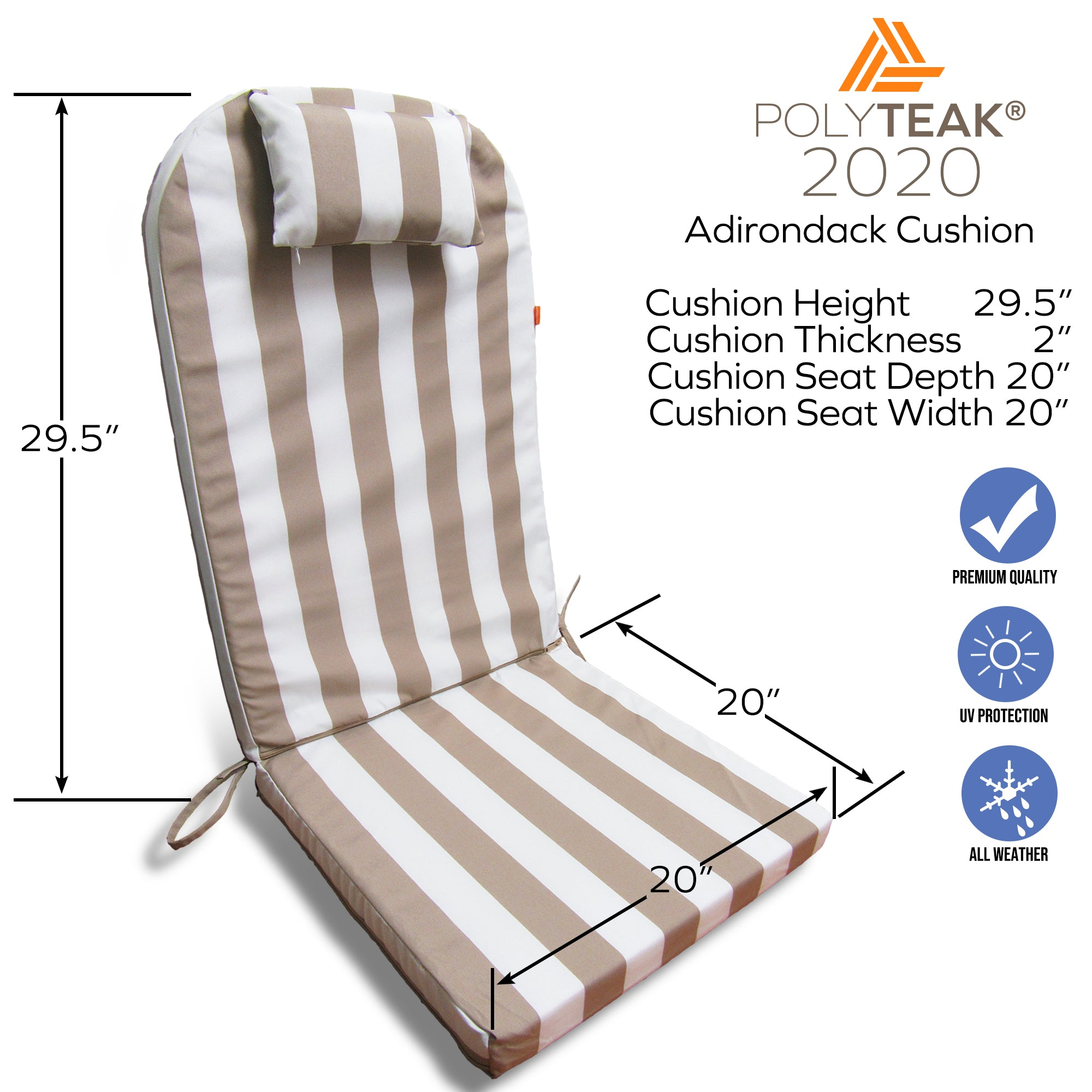 Outdoor Cushions for Adirondack Chair Indoor Outdoor High Back with Head Pillow | Set of 2 | Created and Designed in California | 100% Polyester | UV-Resistant & Water Resistant…