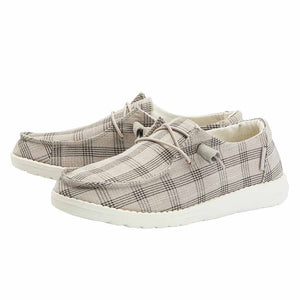Women's Wendy Taupe Plaid Hey Dudes