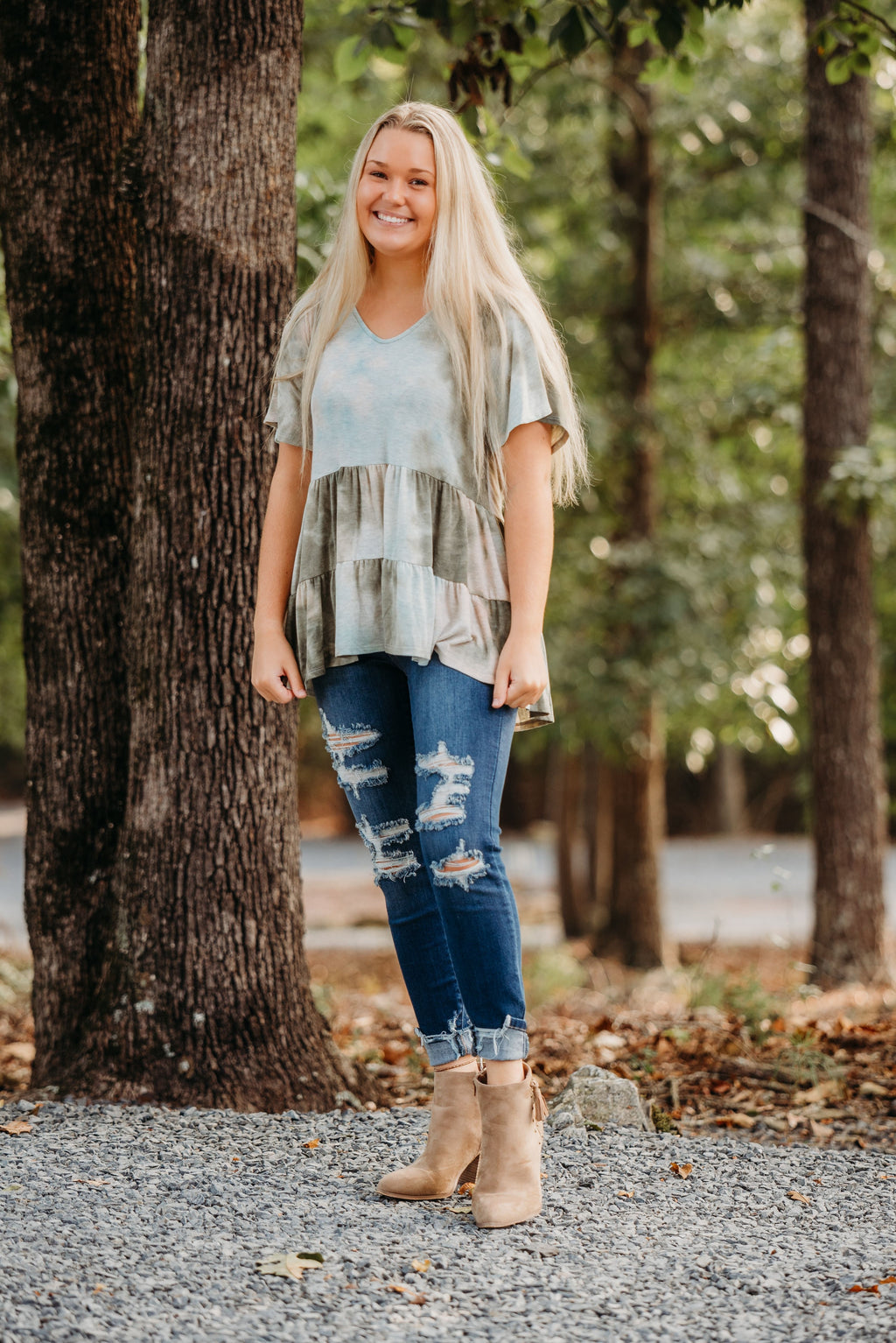 Olive Tie Dye Baby Doll Top