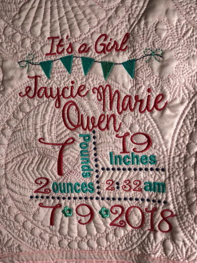 Birth Announcement Baby Quilt
