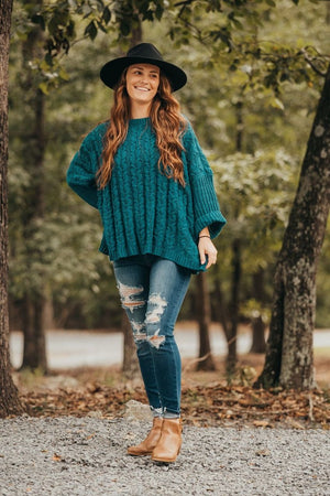 Forest Chenille Cable Knit Pullover Sweater