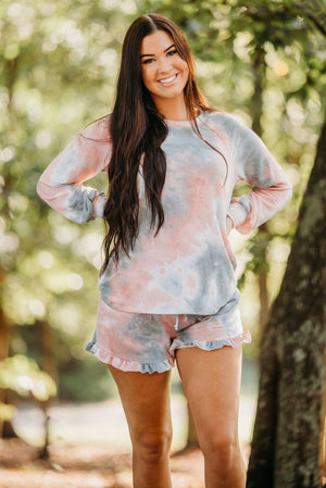 Grey Tie dye Ruffle Lounge Shorts