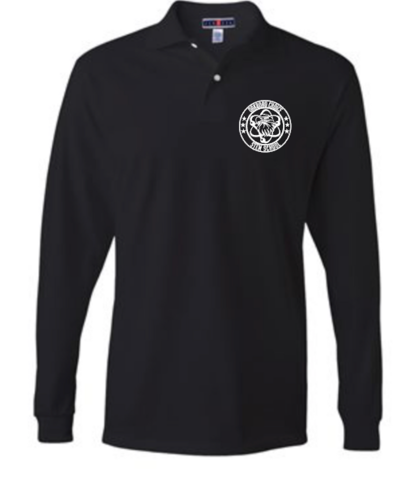 Oakboro Stem Long Sleeve Polo- Black