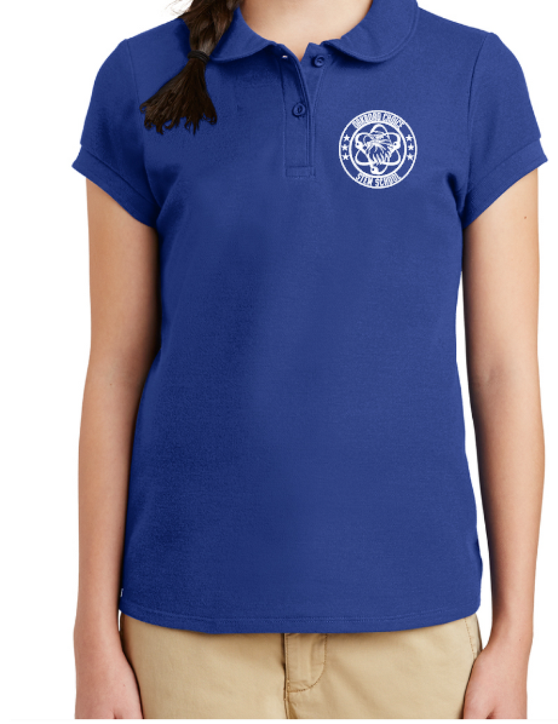 Oakboro Stem Girls Peter Pan Polo- Royal